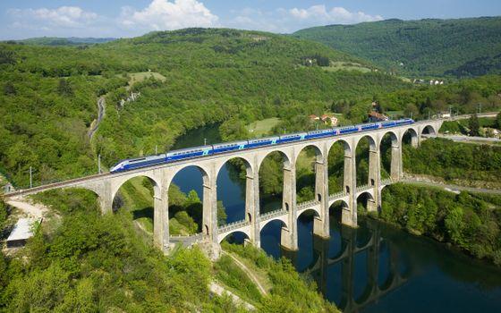 Фото бесплатно река, франция, cize-bolozon viaduct