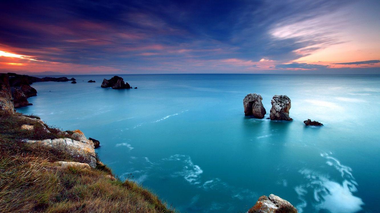 Фото бесплатно берег, океан, рифы, небо, закат, солнце, скалы, пейзажи, пейзажи