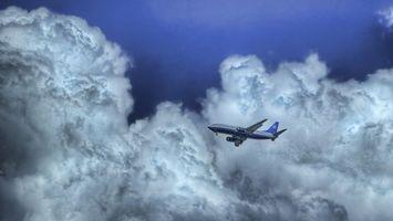 Бесплатные фото самолет,синий,белый,небо,тучи,облака,шасси