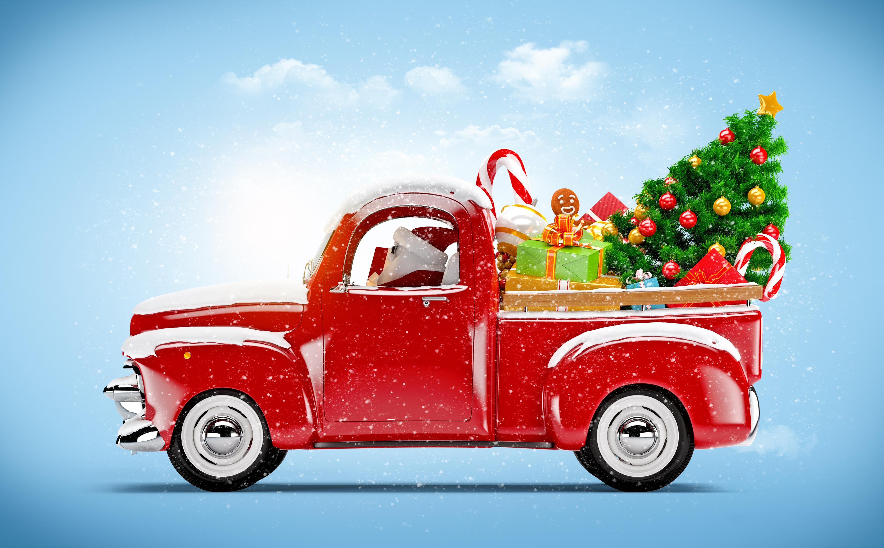 дед мороз, красный, автомобиль
