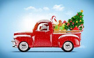 Бесплатные фото дед мороз,красный,автомобиль,снег,снежинки,елка,игрушки