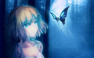 Фото бесплатно девочка, глаза, голубые, лес, бабочка, синяя, аниме