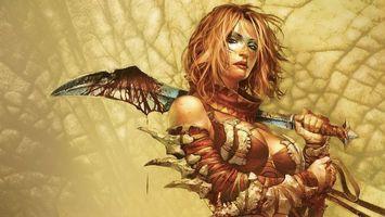Бесплатные фото девушка,лицо,волосы,прическа,меч,форма,одежда