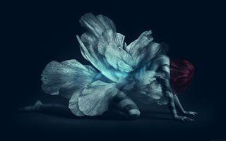 Бесплатные фото девушка,платье,прическа,крылья,руки,мотылек,полосы