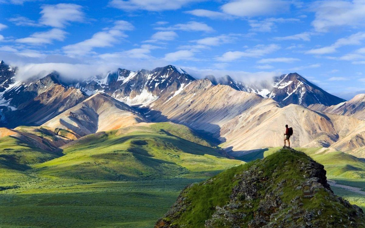 Фото бесплатно долина, трава, горы - на рабочий стол