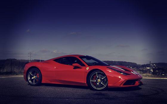 Бесплатные фото ferrari,красный,ночь,машины