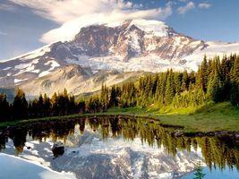 Бесплатные фото горы,снег,озеро,вода,трава,деревья,природа