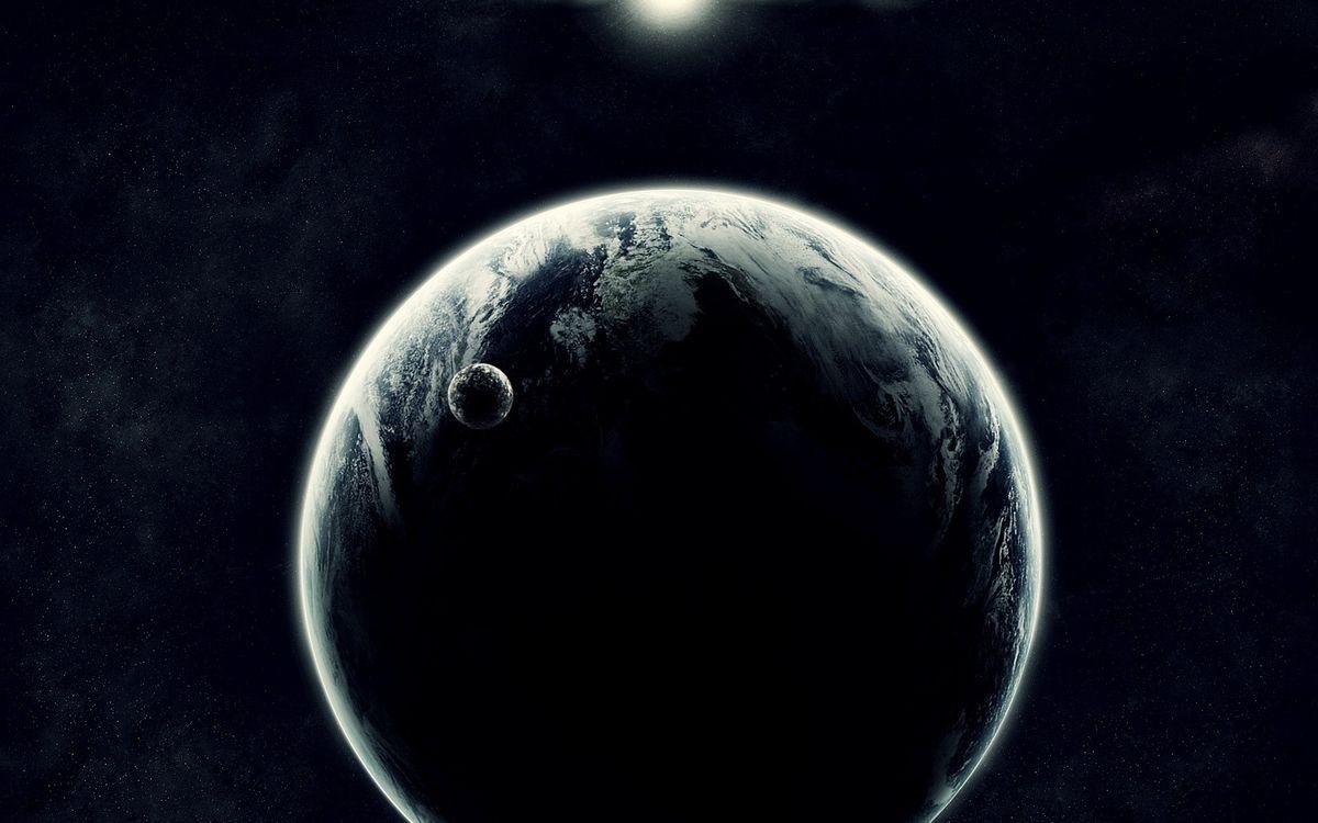 Фото бесплатно новая планета, спутник, звезда - на рабочий стол