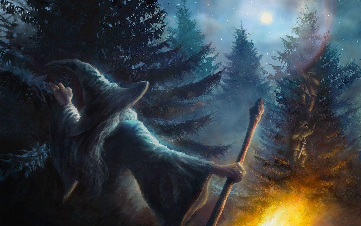 Фото бесплатно картина, чародей, волшебник, люди, мечи, лес, елки, снег, зима, рендеринг, рендеринг