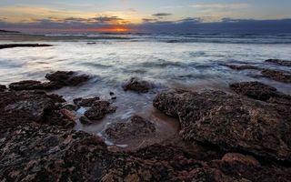 Бесплатные фото море, волны, берег, камни, небо, облака, солнце
