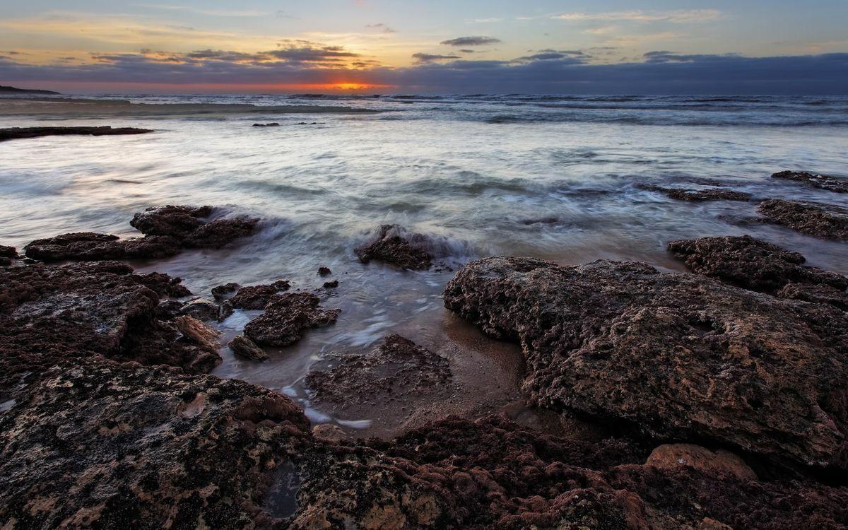 Фото бесплатно волны, облака, камни - на рабочий стол