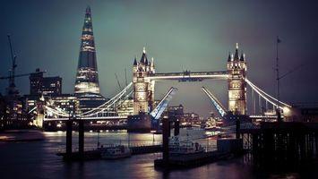Фото бесплатно мост, дома, река