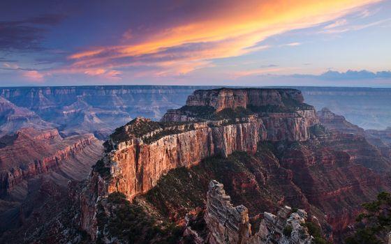 Фото бесплатно мыс грант-каньон, горный хребет, закат