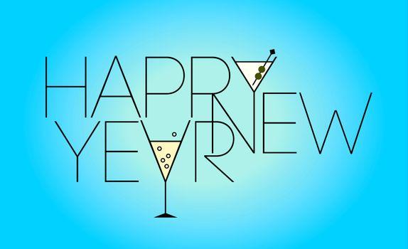 надпись, слова, счастливого, нового, года
