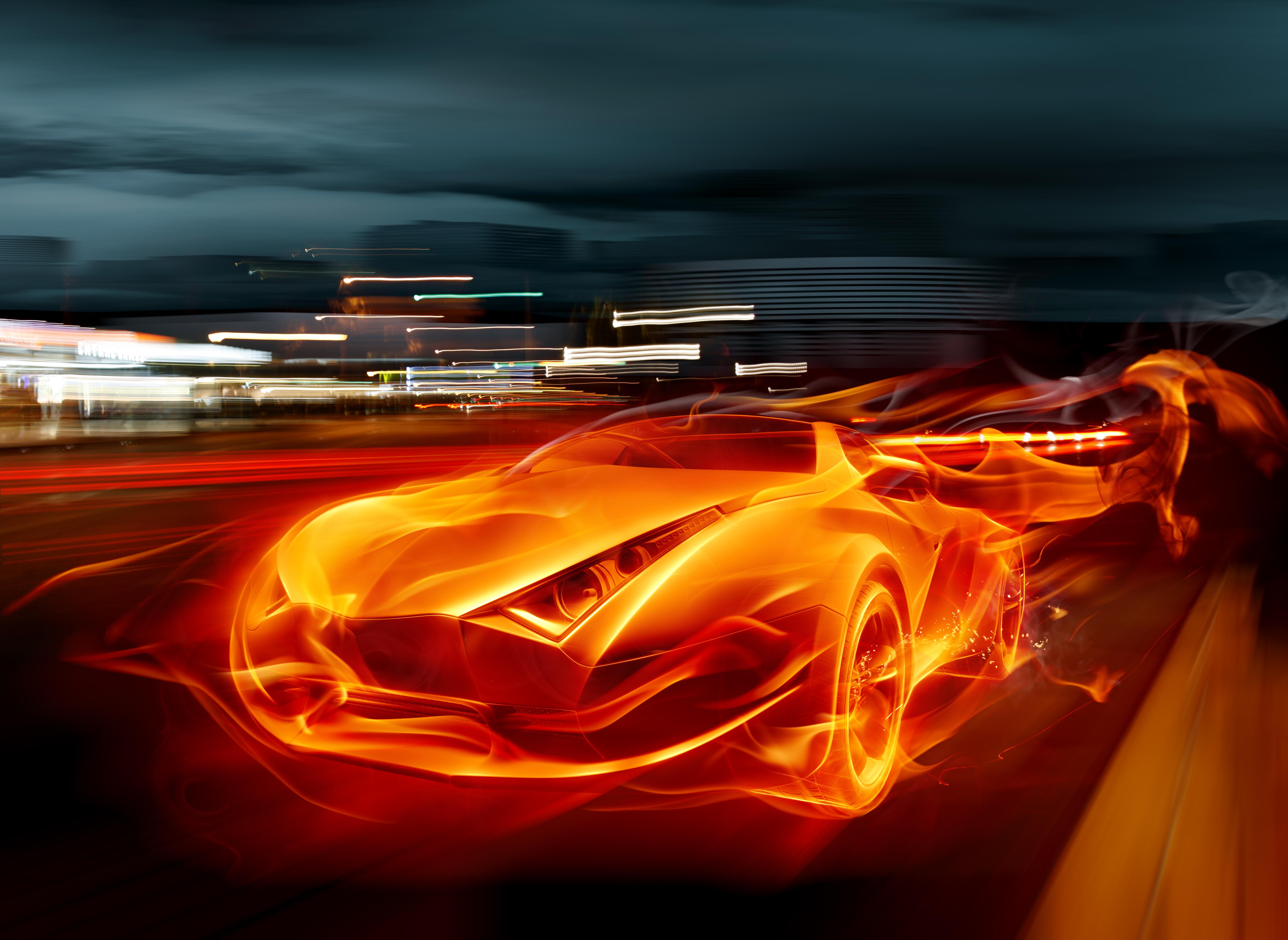Обои огонь, форма, машины, трасса