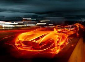 Заставки огонь, форма, машины, трасса, скорость, огни, 3d графика