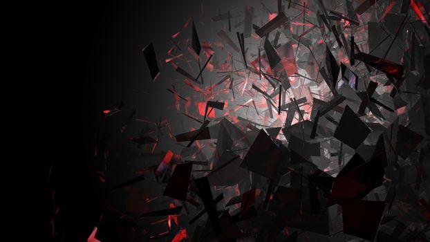 Бесплатные фото осколки,стекло,черные,красное,свечение,абстракции