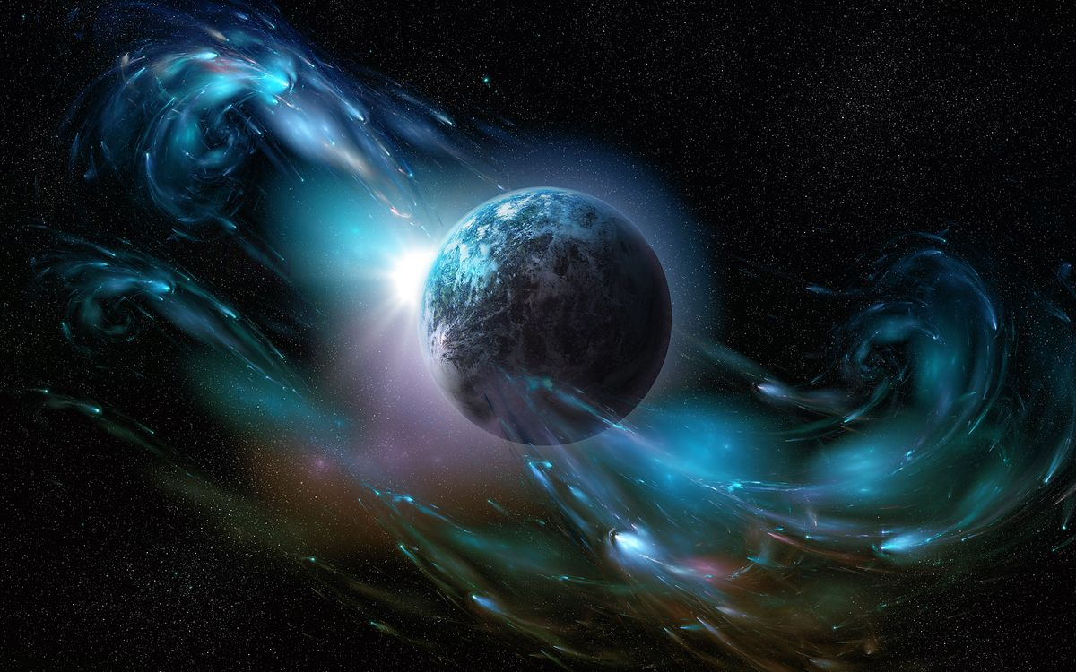 Обои планета, линии, спутник картинки на телефон