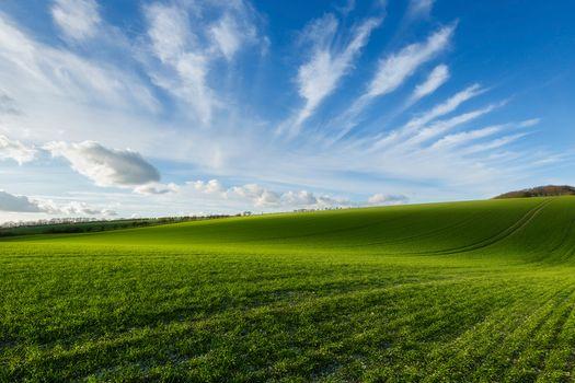 Photo free field, hills, sky