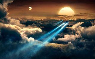 Фото бесплатно солнце, луна, небо, облака, тучи, земля, самолет, полет, свет, огни, авиация, пейзажи