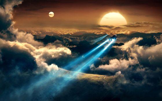 Фото бесплатно солнце, луна, небо