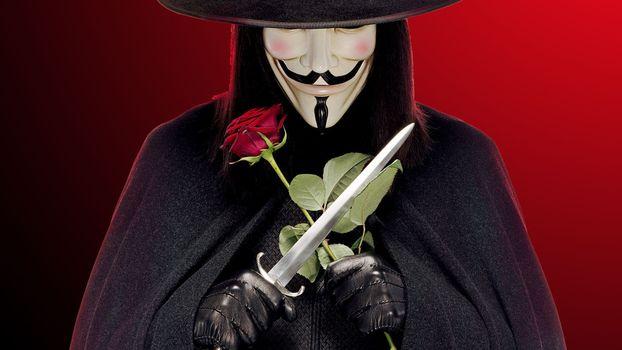 Бесплатные фото вендетта,роза,маска,кинжал,загадка,v,фильмы