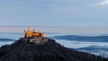 Бесплатные фото замок,гора,лес,деревья,небо,туман,город