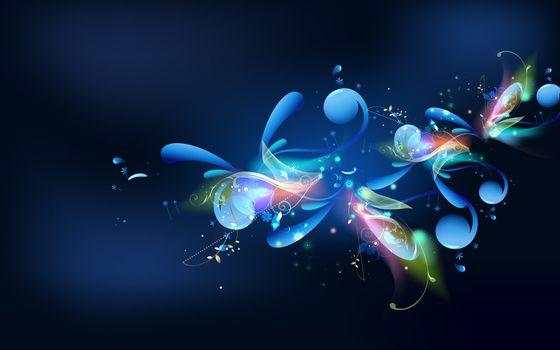 заставка, фон, синий, цветок, блеск