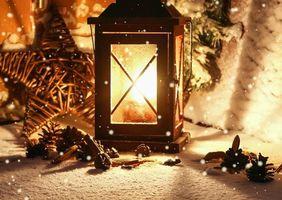 Бесплатные фото зима,фонарик,свеча,свет,фонарь,красивые настроение