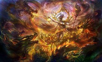 Бесплатные фото арт,магия,дева,драконы,пламя,огонь,трость