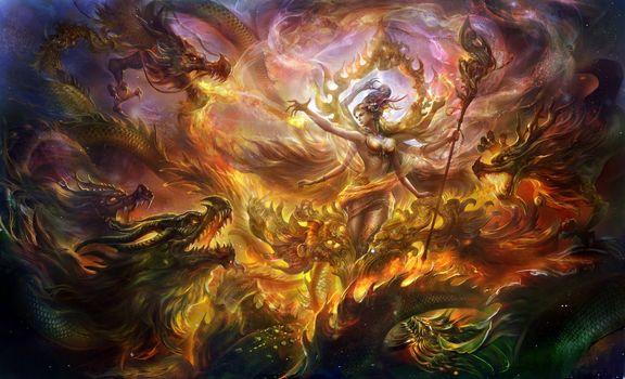 Фото бесплатно арт, магия, дева, драконы, пламя, огонь, трость, разное