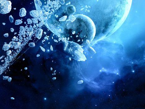 Бесплатные фото космос,лед,планеты,осколки,метеориты