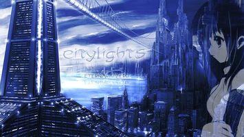 Бесплатные фото город,дома,небоскреб,citylights,мультик,фантастика
