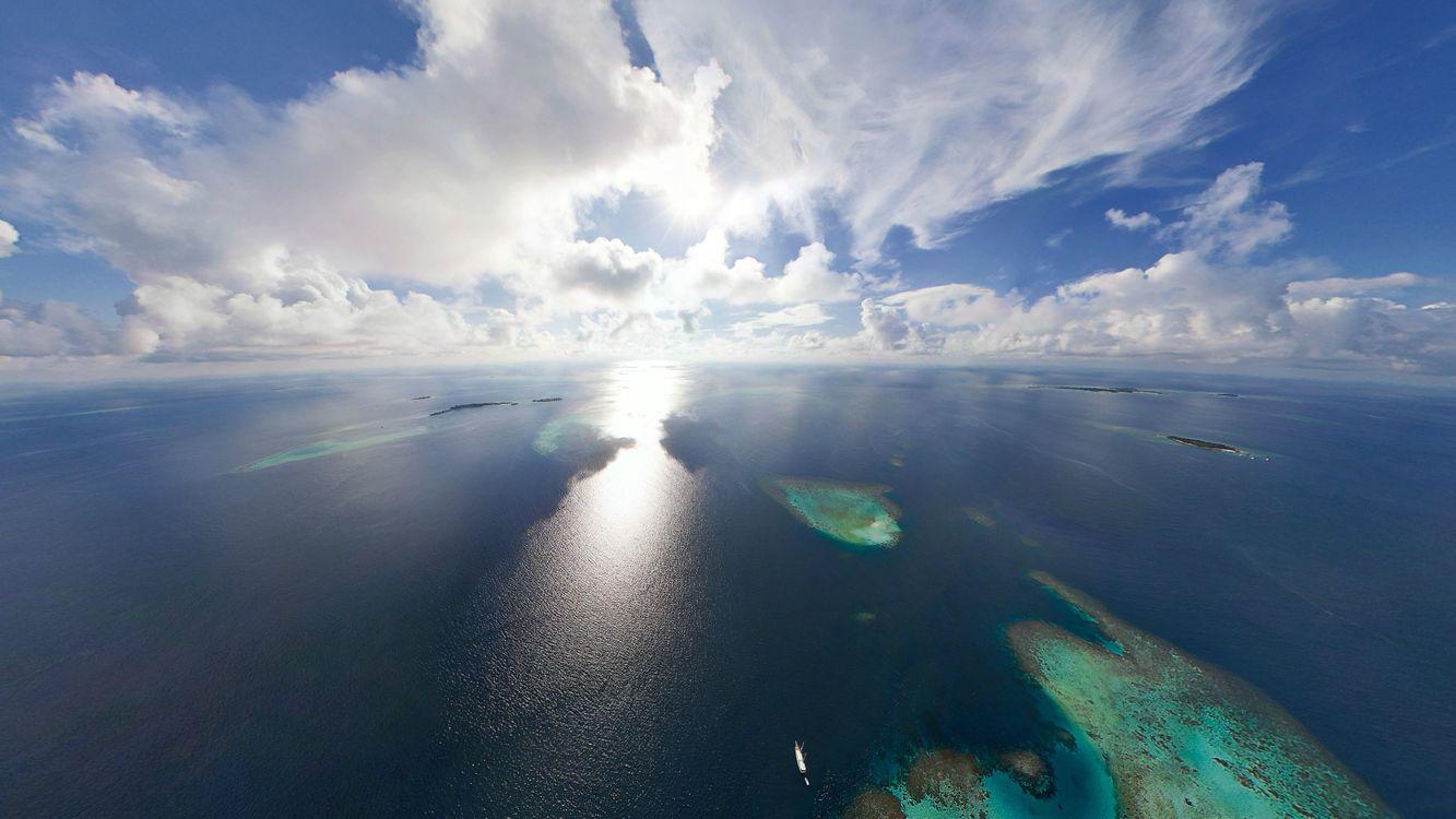 Фото бесплатно острова, самолет, небо, облака, море, пейзажи, пейзажи