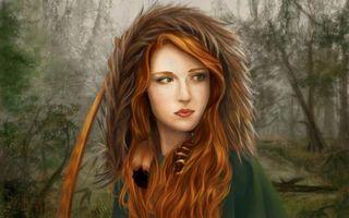 Фото бесплатно девушка, капюшон, мех, глаза, губы, серьги, рендеринг