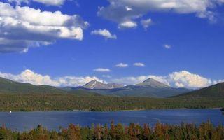 Бесплатные фото озеро,вода,небо,облака,голубое,деревья,листья