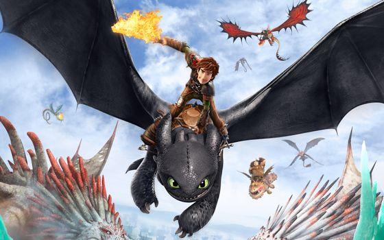 Фото бесплатно приручить, дракона, драконы, полет, погоня, меч, огонь, мультфильмы