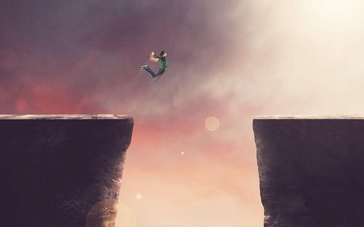 Фото бесплатно прыжок, скала, пропасть - на рабочий стол