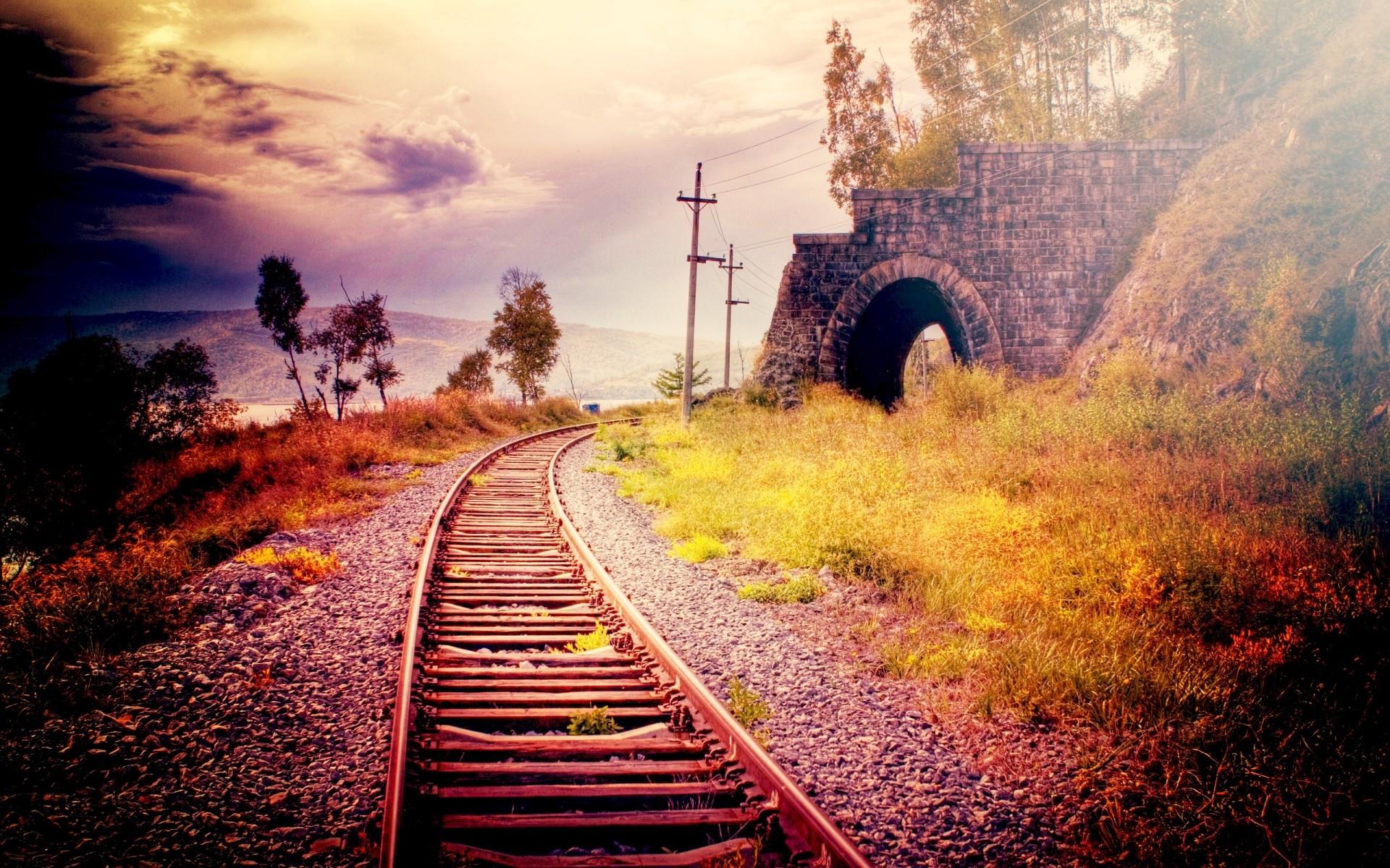 рельсы, шпалы, железная дорога