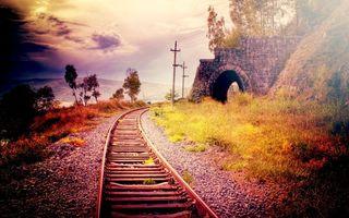 Бесплатные фото рельсы,шпалы,железная дорога,арка,небо,деревья,камни