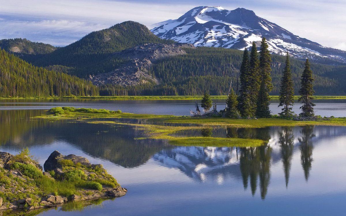 Фото бесплатно горы, лес, берег - на рабочий стол