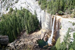 Бесплатные фото водопад,заводь,брызги,скала,лес,деревья,елки