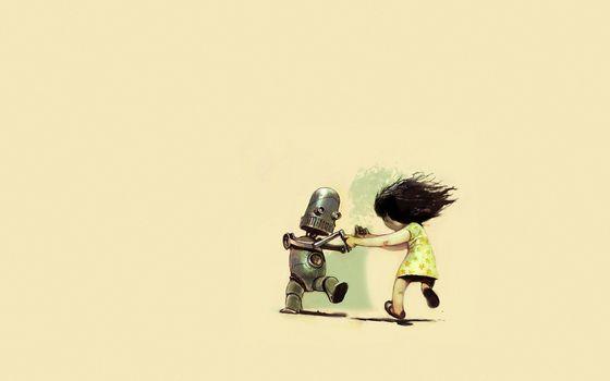 Бесплатные фото девочка,пляшут,робот