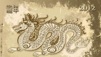 Бесплатные фото дракон,2012,япония,стиль,иероглифы,новый год