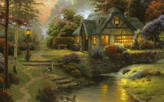 Бесплатные фото stillwater cottage,art,thomas kinkade,cottage,painting,томас кинкейд