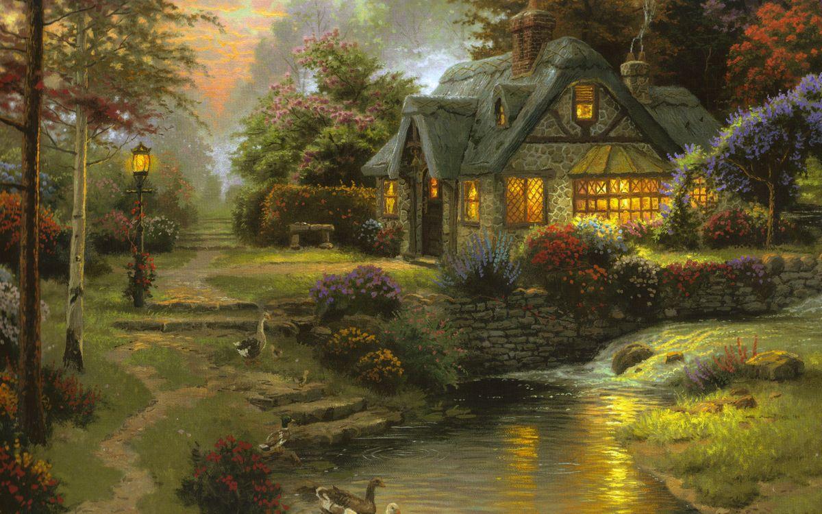 Фото бесплатно stillwater cottage, art, thomas kinkade - на рабочий стол