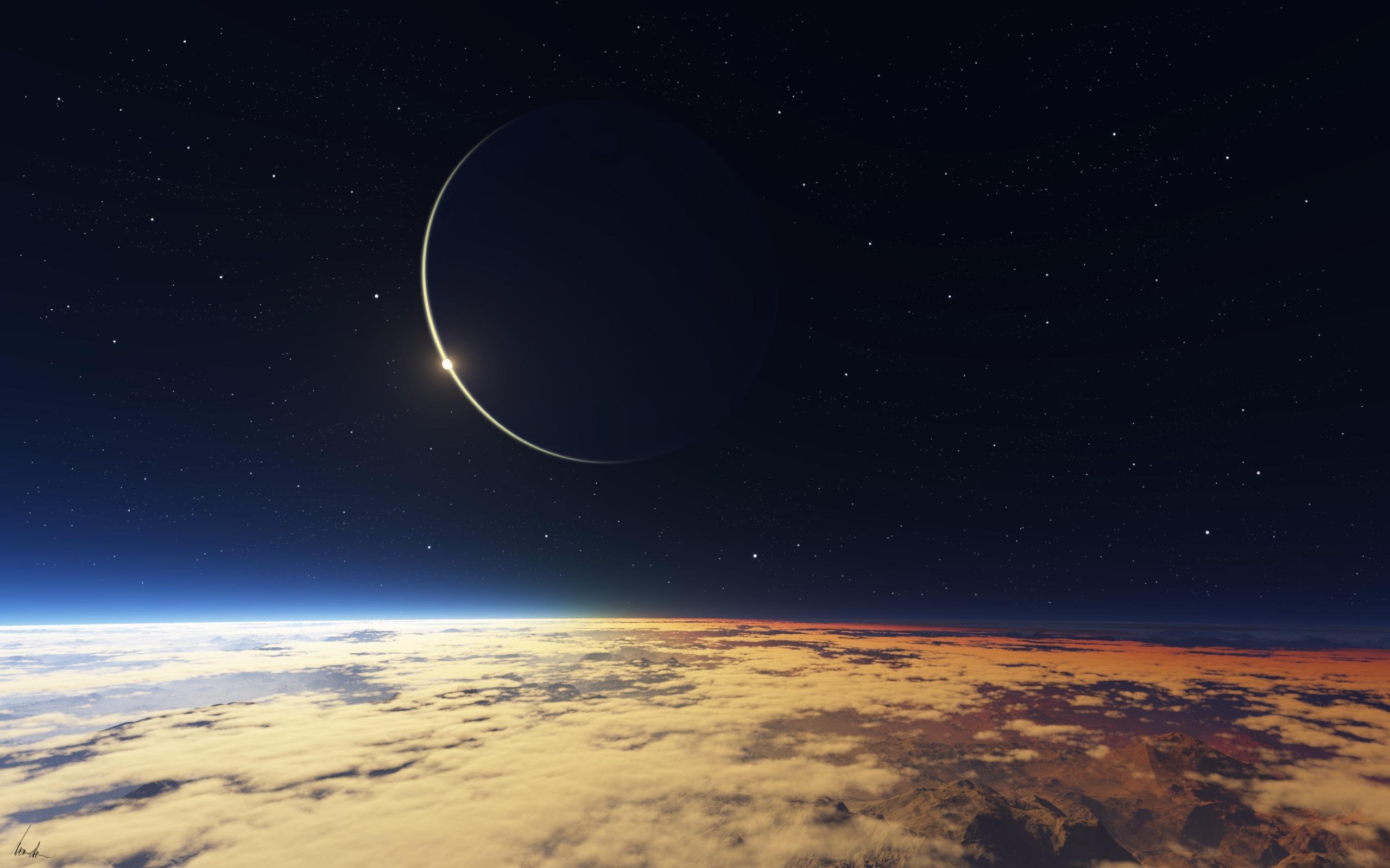 Обои горизонт, спутник, небо, звезды