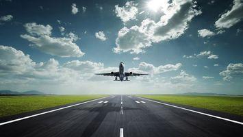 Фото бесплатно самолет, аэропорт, взлетная полоса