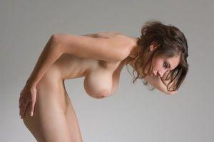 Обои девушка, брюнетка, поза, эротика, грудь