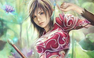 Бесплатные фото девушка,волосы,прическа,цветок,лотос,одежда,глаза